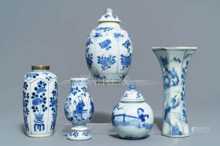 Five Chinese blue and white vases, Kangxi