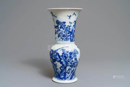 A Chinese blue and white 'bianco sopra bianco' yenyen vase with birds among flowers, Kangxi