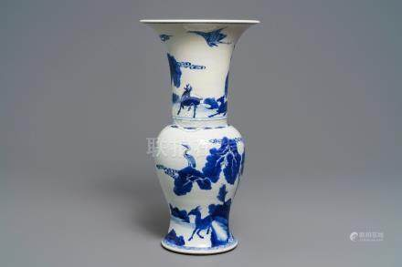 A Chinese blue and white 'deer and crane' yenyen vase, Kangxi