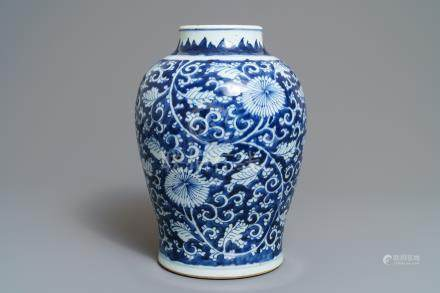 A Chinese blue and white 'peony scroll' vase, Kangxi