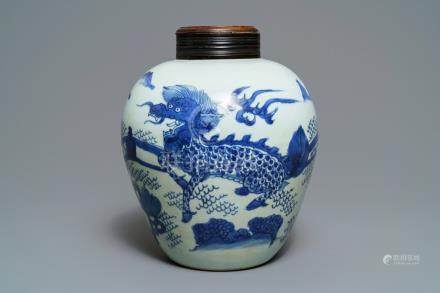 A Chinese blue and white 'qilin' jar, Transitional period
