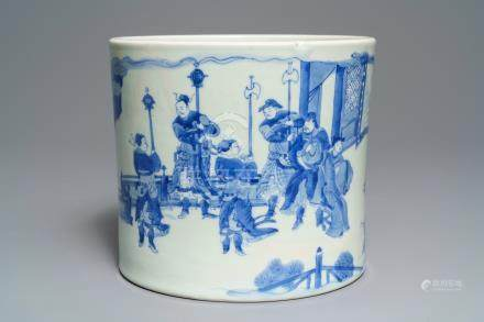 A large Chinese blue and white brush pot, bitong, Transitional period