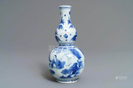 A Chinese blue and white double gourd vase with the calligrapher Wang Xizhi, Transitional period