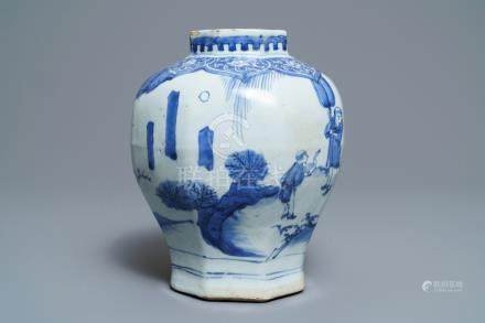 A Chinese blue and white baluster vase, Transitional period