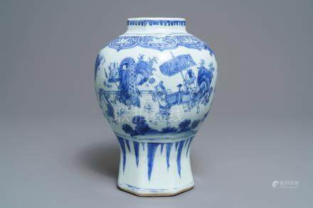 A Chinese blue and white baluster vase with unusual figural design, Transitional period