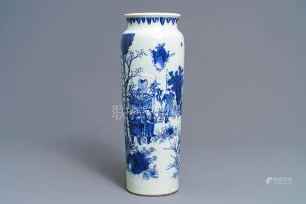 A fine Chinese blue and white sleeve vase with figural design all-round, Transitional period