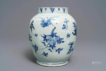 A Chinese blue and white jar with fruits and insects, Transitional period