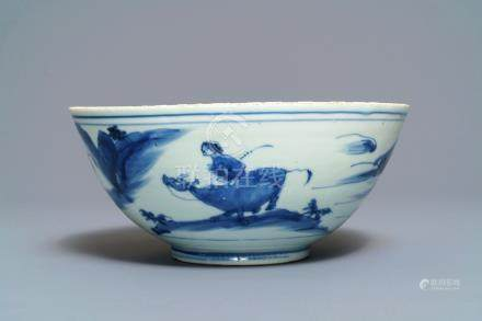 A Chinese blue and white bowl with figures on bulls, Chenghua mark, Transitional period