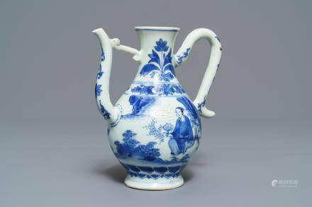 A Chinese blue and white ewer, Transitional period