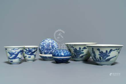 Two Chinese blue and white Hatcher Cargo bowls, two wine cups and two boxes, Transitional period