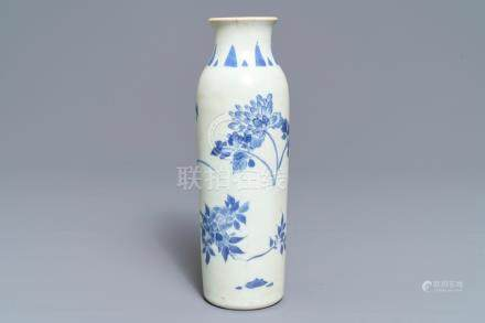 A Chinese blue and white sleeve vase with floral design, Hatcher cargo, Transitional period