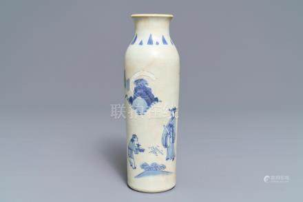 A Chinese blue and white sleeve vase with figurative design, Hatcher cargo, Transitional period