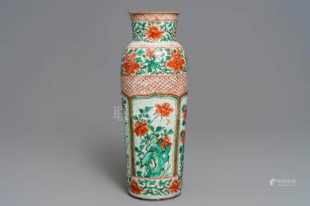 A tall Chinese wucai rouleau vase, Transitional period or Kangxi