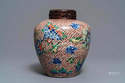A Chinese wucai ginger jar, Transitional period