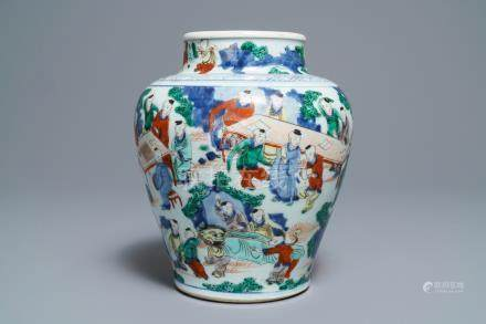A Chinese wucai '100 boys' baluster vase, Transitional period