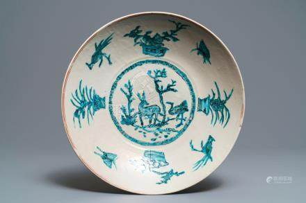A Chinese Swatow dish with a deer, Ming