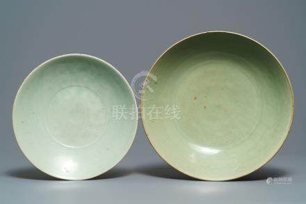 Two Chinese Swatow celadon dishes with underglaze design, Ming