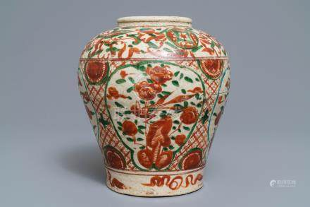 A Chinese polychrome Swatow jar, Ming