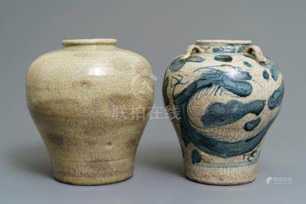 Two Chinese blue and white and monochrome Swatow jars, Ming