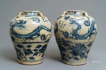 A pair of Chinese blue and white Swatow jars, Ming