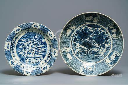 Two large Chinese blue and white Swatow dishes, Ming