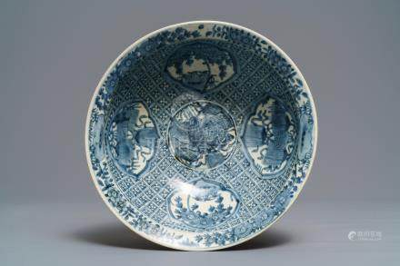 A large Chinese blue and white Swatow bowl, Ming