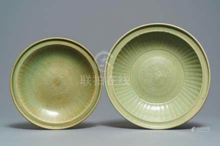 Two Chinese Longquan celadon dishes with underglaze design, Ming