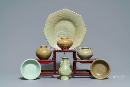 An octagonal Chinese Longquan celadon dish, four vases and two bowls, Song/Ming