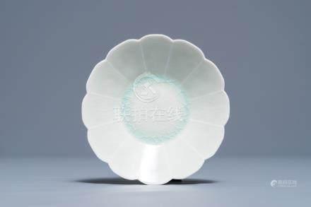 A Chinese qingbai chrysanthemum-shaped dish, Song
