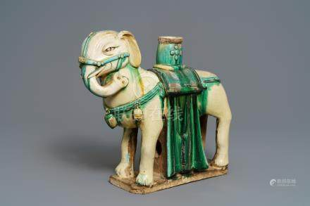A large Chinese pottery model of an elephant, Ming