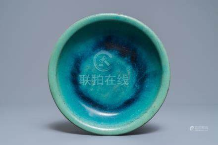 A Chinese Shiwan flambé-glazed turquoise and blue dish, 18/19th C.