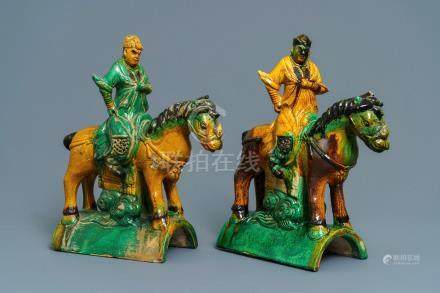 Two Chinese yellow and green-glazed 'horserider' roof tiles, Ming