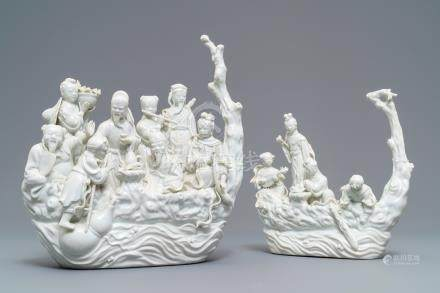 Two Chinese Dehua blanc de Chine groups with immortals on log boats, 19th C.