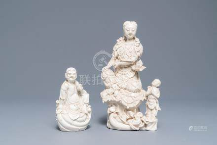 Two Chinese Dehua blanc de Chine models of a Luohan and Guanyin with servant, 19th C.