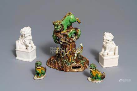 A collection of Chinese verte biscuit and blanc de Chine models of Buddhist lions, Kangxi