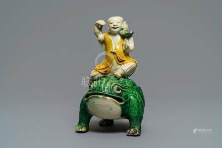 A Chinese verte biscuit model of Liu Hai on the toad, Kangxi