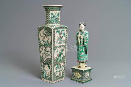 A Chinese verte biscuit figure on stand and a square vase, Kangxi and later
