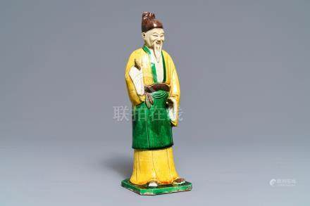 A Chinese verte biscuit figure of a sage, Kangxi