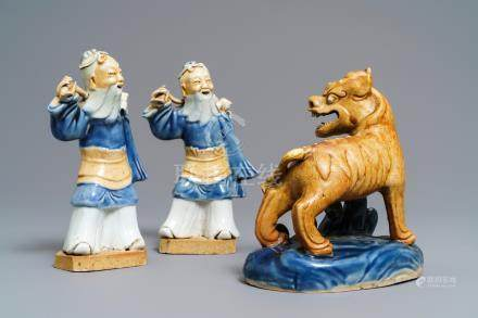 Three Chinese blue and white biscuit figures, Qianlong