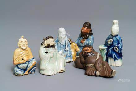 Six Chinese blue, white and celadon biscuit figures, Qianlong