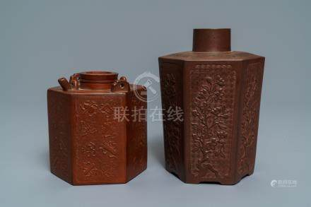 A Chinese relief-decorated Yixing stoneware caddy and a teapot, Kangxi