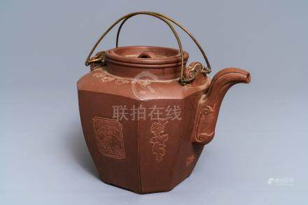 A large Chinese Yixing stoneware teapot and cover, 19th C.