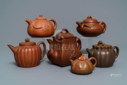 Six Chinese Yixing stoneware teapots and covers, 19th C.