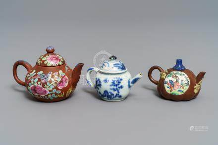 Three miniature Chinese Yixing and blue and white teapots, Kangxi and later