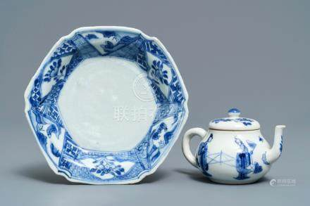 A Chinese blue and white Yixing-style teapot and an anhua-decorated plate, Tianqi and Kangxi