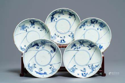 Five Chinese blue and white ko-sometsuke plates with playing boys, Tianqi