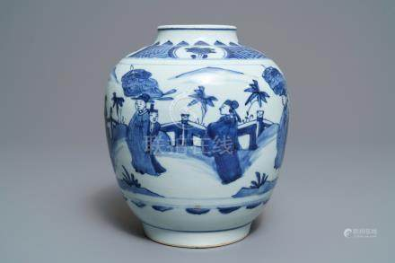 A Chinese blue and white baluster vase, Wanli/Tianqi