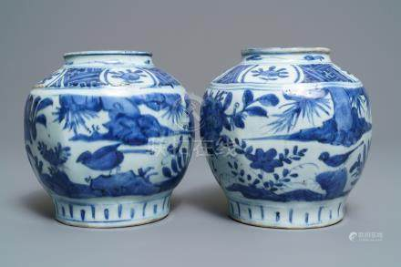 A pair of Chinese blue and white jars with birds among foliage, Wanli