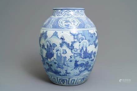 A large Chinese blue and white 'immortals' vase, Wanli