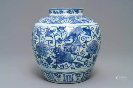 A Chinese blue and white vase with Buddhist lions and peonies, Wanli